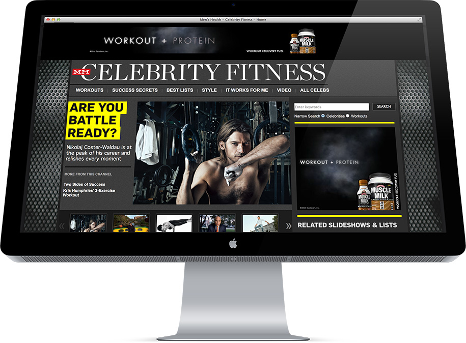 Celebrity Fitness design and development, homepage