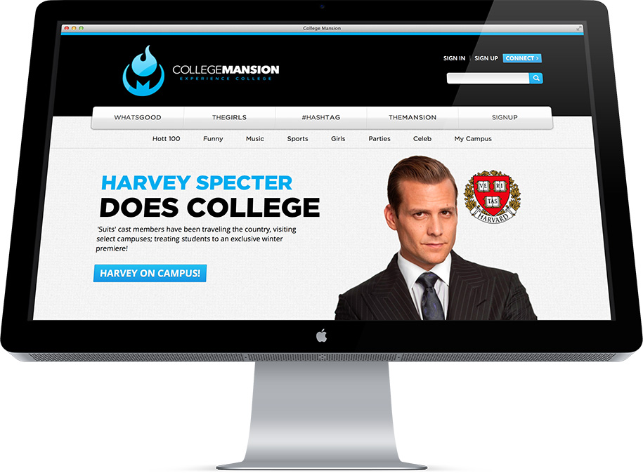 College Mansion Drupal Design & Development, Homepage